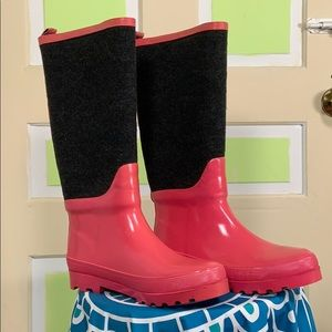 J crew pink gray rain boots size 8 wool & rubber